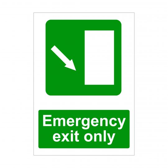 Emergency Exit Only Diagonal Down Arrow To Right Sign