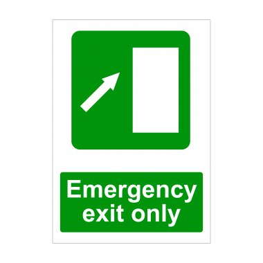 Emergency Exit Only Diagonal Up Arrow To Right Sign