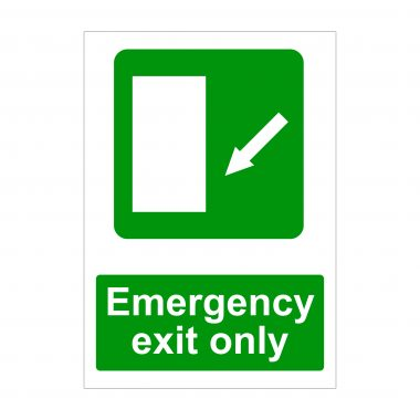 Emergency Exit Only Left Diagonal Down Arrow Sign