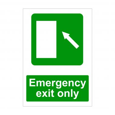 Emergency Exit Only Left Diagonal Up Arrow Sign
