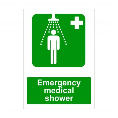 Emergency Medical Shower Sign, Printed Vinyl Stickers
