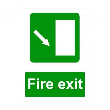 Fire Exit Diagonal Arrow Down Right Sign