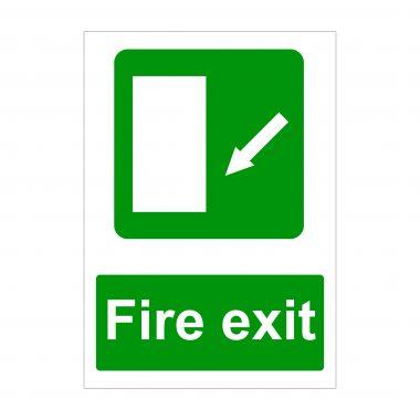 Fire Exit Diagonal Arrow Down to Left Sign