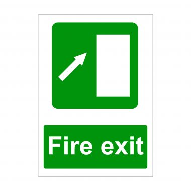 Fire Exit Diagonal Arrow Up Right Sign
