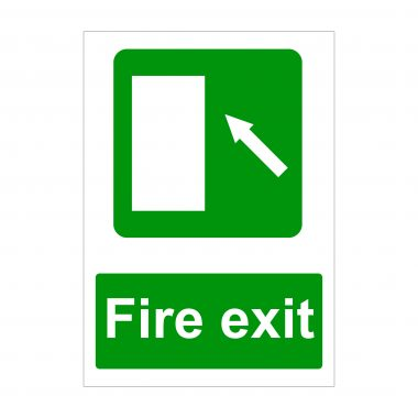 Fire Exit Diagonal Arrow Up to Left Sign