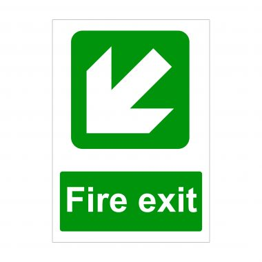 Fire Exit Large Arrow Diagonal Down to Left Sign