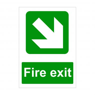 Fire Exit Large Arrow Diagonal Down to Right Sign