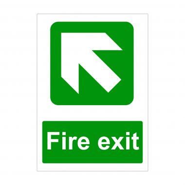 Fire Exit Large Arrow Diagonal Up to Left Sign
