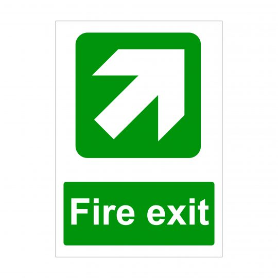 Fire Exit Large Arrow Diagonal Up to Right Sign