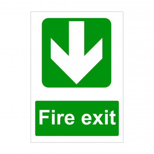 Fire Exit Large Arrow Down Sign, Printed Correx Boards