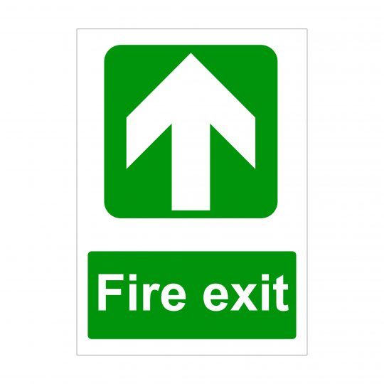 Fire Exit Large Arrow Up Sign