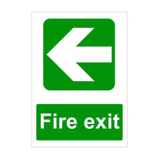 Fire Exit Large Arrow to Left Sign, Printed Foamex Boards