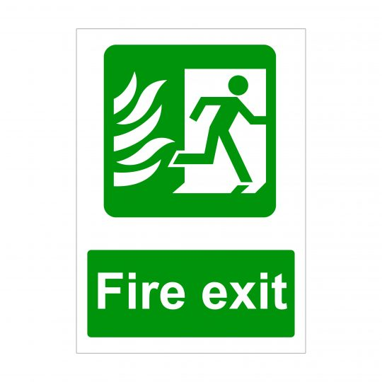 Fire Exit Sign, Printed Vinyl Stickers, Foamex Printing