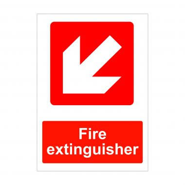 Fire Extinguisher Diagonal Left Down Arrow Sign