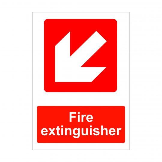 Fire Extinguisher Diagonal Left Down Arrow Sign