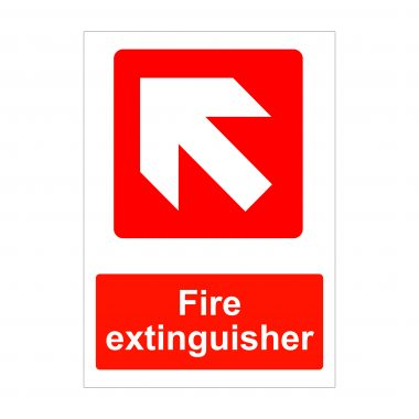 Fire Extinguisher Diagonal Left Up Arrow Sign