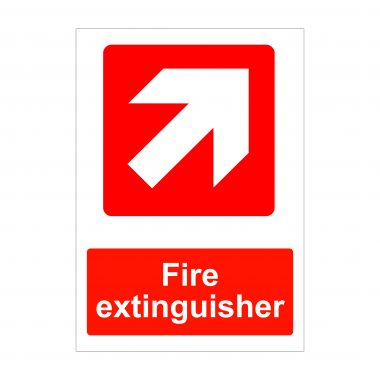 Fire Extinguisher Diagonal Right Up Arrow Sign