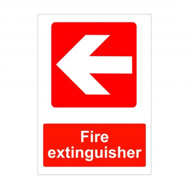 Fire Extinguisher Left Arrow Sign