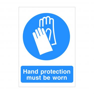 Hand Protection Must Be Worn Sign, Covid 19 Health and Safety Signs, Corona Virus Signage