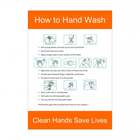 How to Hand Wash Sign, Covid-19 Signage, Corona Health and Safety Signs