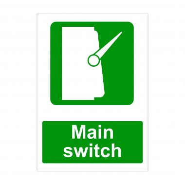 Main Switch Sign, Printed Health and Safety Signs
