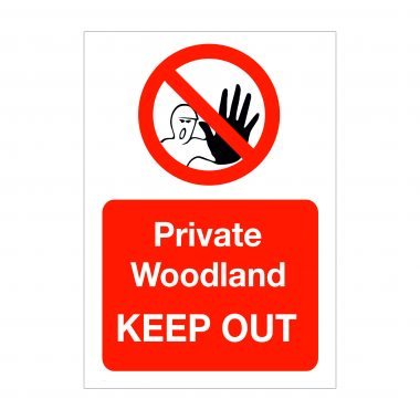 Private Woodland Keep Out Sign
