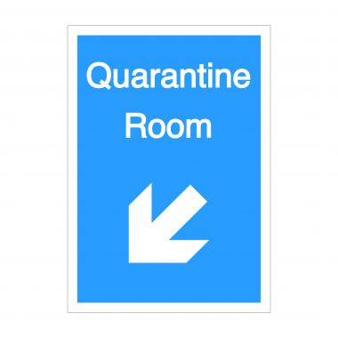 Quarantine Room Diagonal Down To Left Arrow Sign