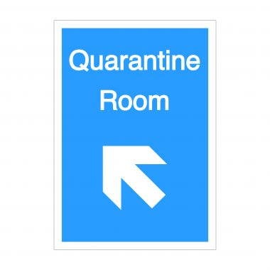 Quarantine Room Diagonal Up To Left Arrow Sign