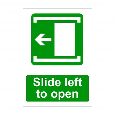 Slide Left to Open Sign, Printed Health and Safety Signage