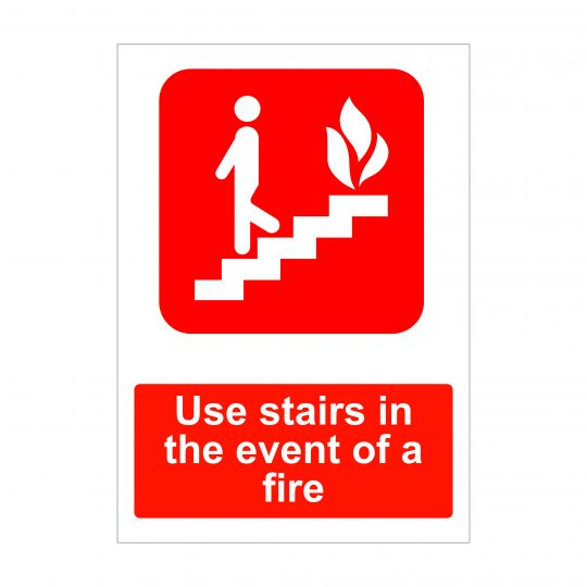 Use Stairs in the event of a fire sign