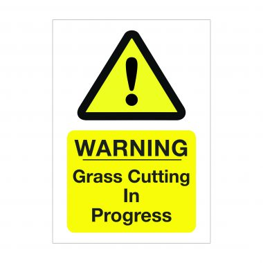 Warning Grass Cutting in Progress Sign