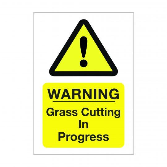 Warning Grass Cutting in Progress Sign