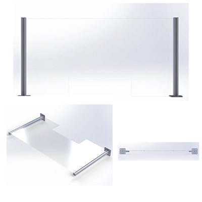 Counter sneeze guards 250mm tall